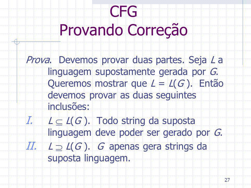 CFG Provando Correção