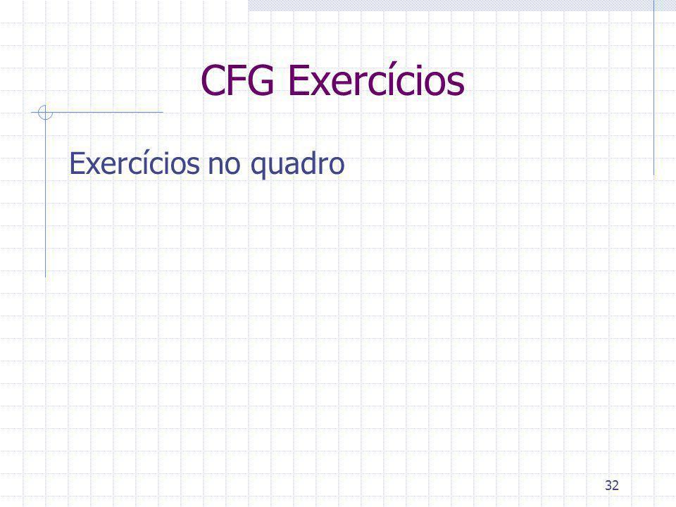 CFG Exercícios Exercícios no quadro
