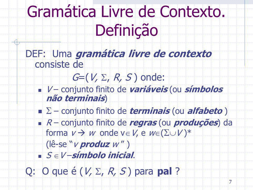 Gramática Livre de Contexto. Definição