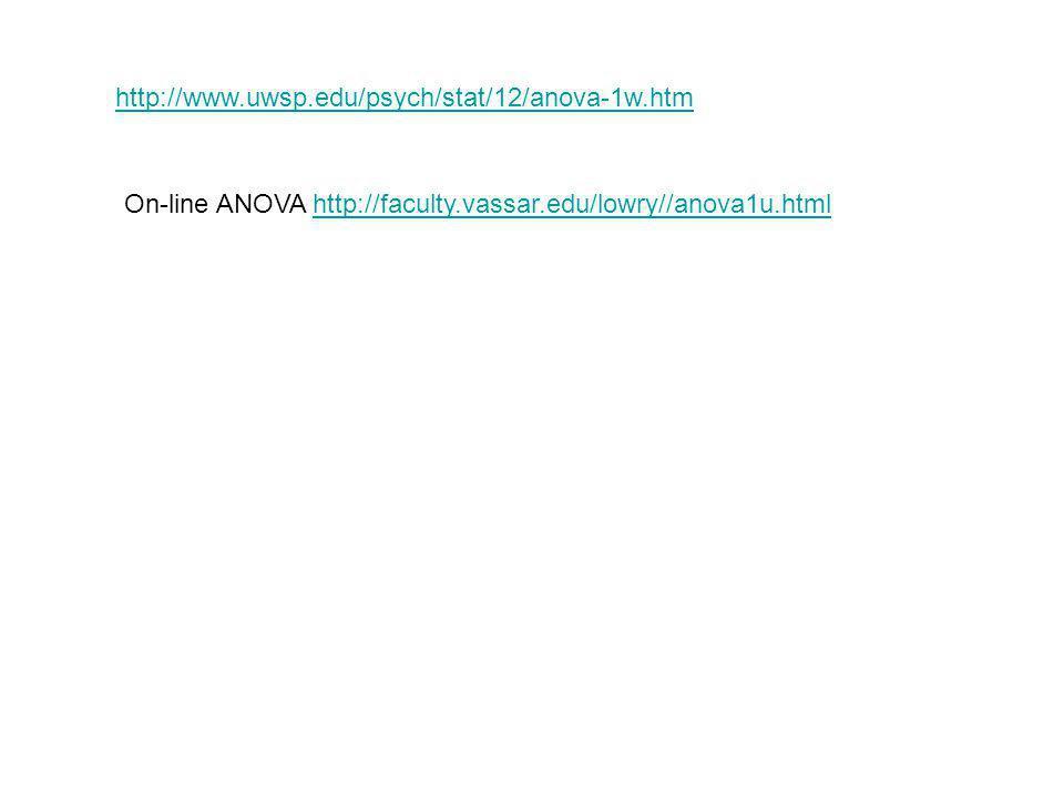 http://www.uwsp.edu/psych/stat/12/anova-1w.htm On-line ANOVA http://faculty.vassar.edu/lowry//anova1u.html.