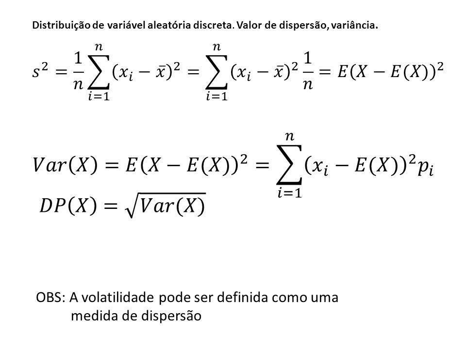 𝑉𝑎𝑟 𝑋 =𝐸 𝑋−𝐸(𝑋) 2 = 𝑖=1 𝑛 𝑥 𝑖 −𝐸(𝑋) 2 𝑝 𝑖