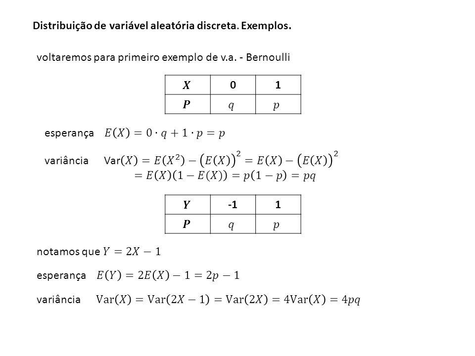 Distribuição de variável aleatória discreta. Exemplos.