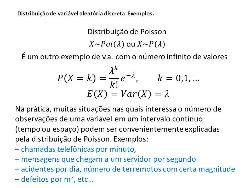𝑃 𝑋=𝑘 = 𝜆 𝑘 𝑘! 𝑒 −𝜆 , 𝑘=0,1,… 𝐸 𝑋 =𝑉𝑎𝑟 𝑋 =𝜆 Distribuição de Poisson