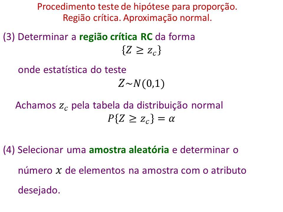 𝑍~𝑁(0,1) (3) Determinar a região crítica RC da forma 𝑍≥ 𝑧 𝑐