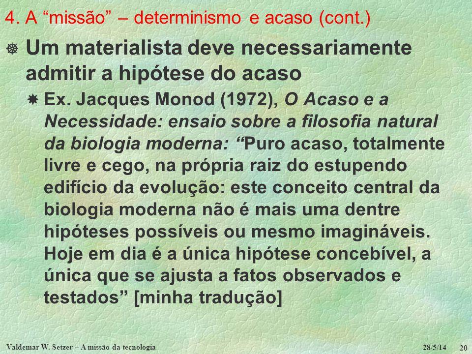 4. A missão – determinismo e acaso (cont.)