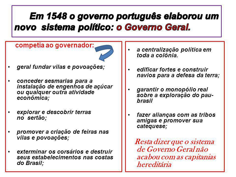 Em 1548 o governo português elaborou um novo sistema político: o Governo Geral.