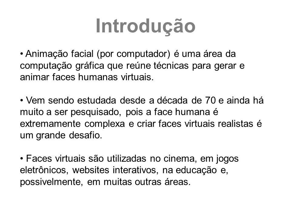 Introdução Animação facial (por computador) é uma área da computação gráfica que reúne técnicas para gerar e animar faces humanas virtuais.