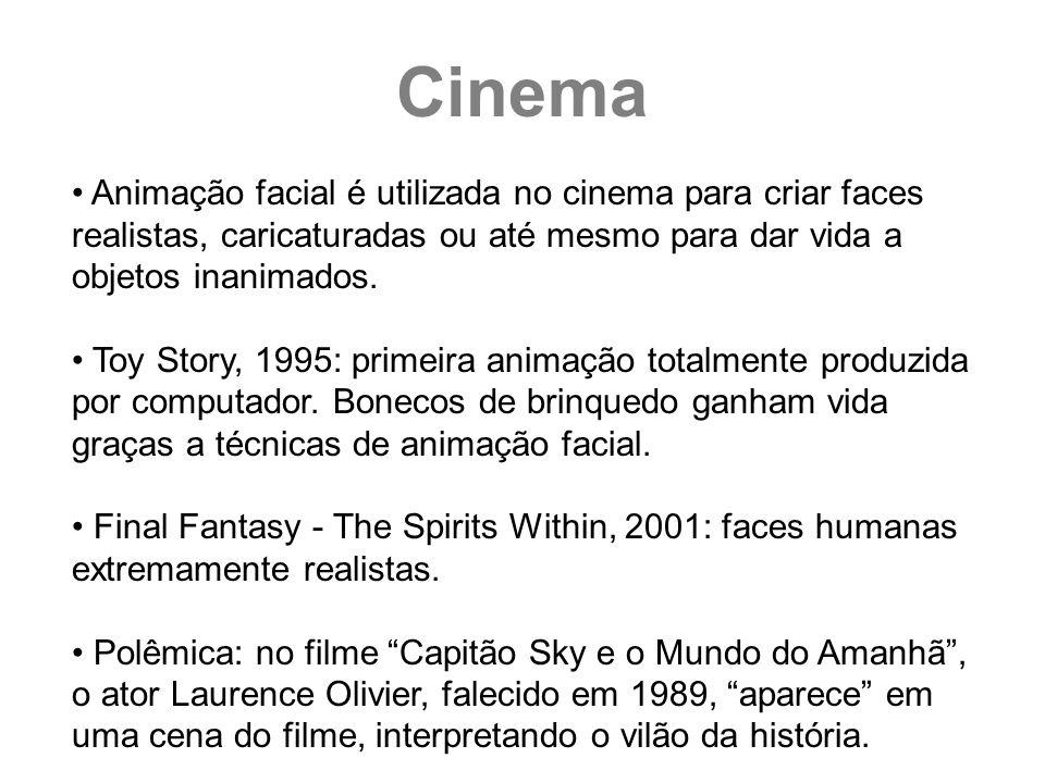 Cinema Animação facial é utilizada no cinema para criar faces realistas, caricaturadas ou até mesmo para dar vida a objetos inanimados.