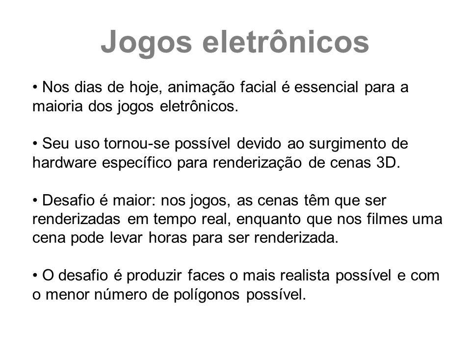 Jogos eletrônicos Nos dias de hoje, animação facial é essencial para a maioria dos jogos eletrônicos.