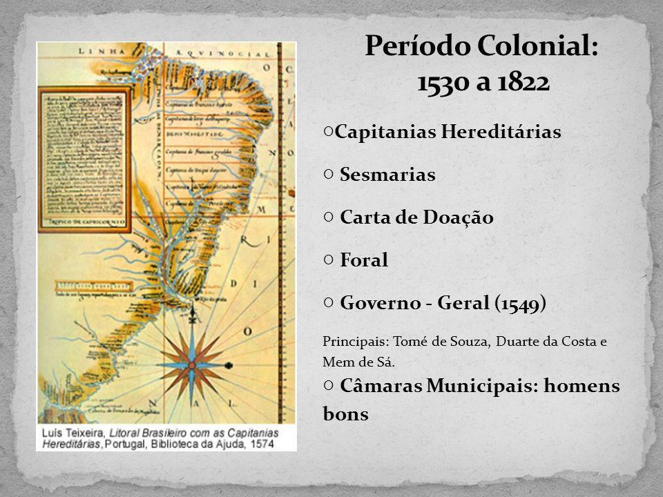 Período Colonial: 1530 a 1822 ○Capitanias Hereditárias ○ Sesmarias