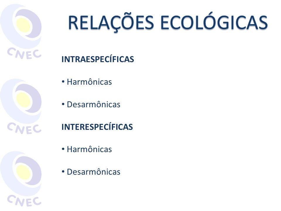 RELAÇÕES ECOLÓGICAS INTRAESPECÍFICAS Harmônicas Desarmônicas