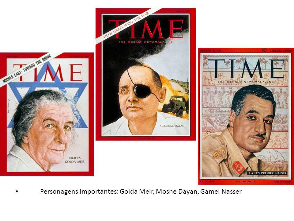 Personagens importantes: Golda Meir, Moshe Dayan, Gamel Nasser