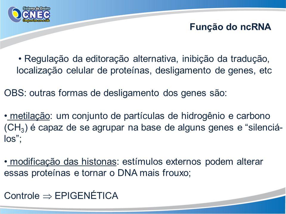 Função do ncRNA Regulação da editoração alternativa, inibição da tradução, localização celular de proteínas, desligamento de genes, etc.