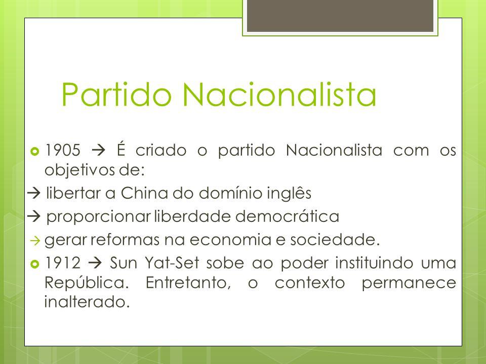 1905  É criado o partido Nacionalista com os objetivos de: