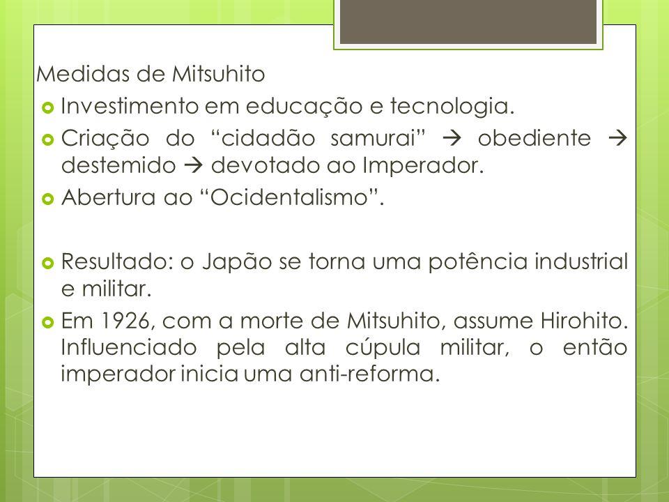 Medidas de Mitsuhito Investimento em educação e tecnologia. Criação do cidadão samurai  obediente  destemido  devotado ao Imperador.