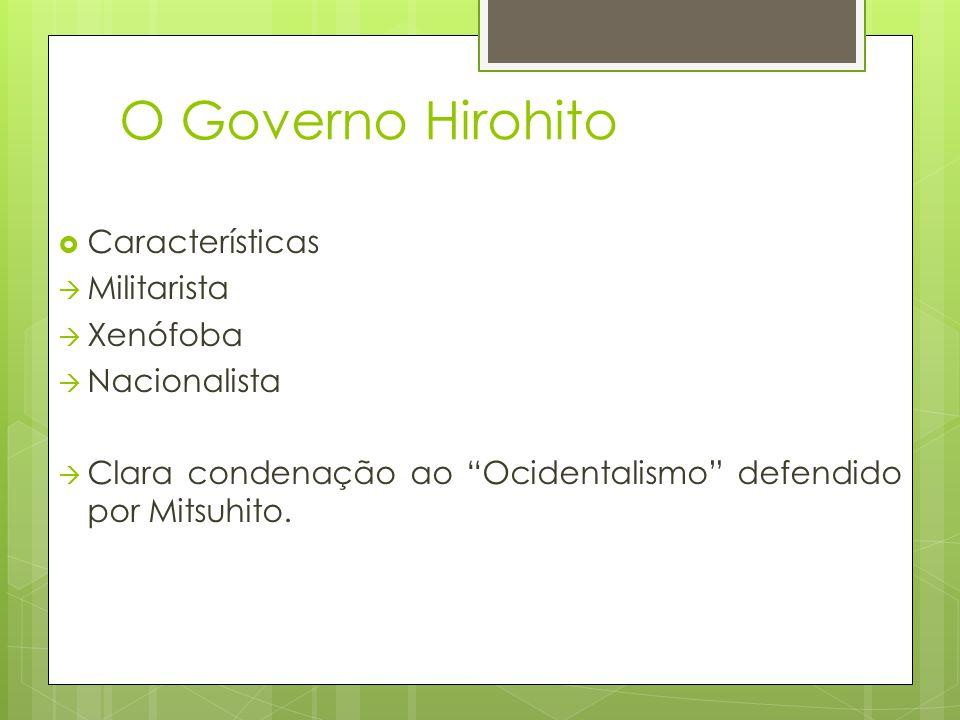 O Governo Hirohito Características Militarista Xenófoba Nacionalista