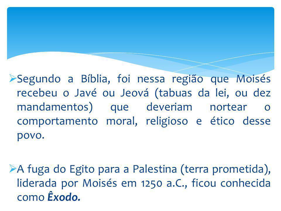 Segundo a Bíblia, foi nessa região que Moisés recebeu o Javé ou Jeová (tabuas da lei, ou dez mandamentos) que deveriam nortear o comportamento moral, religioso e ético desse povo.