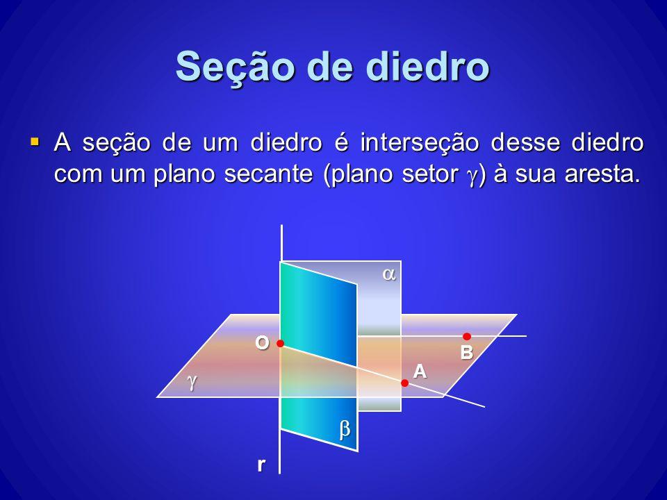 Seção de diedro A seção de um diedro é interseção desse diedro com um plano secante (plano setor g) à sua aresta.