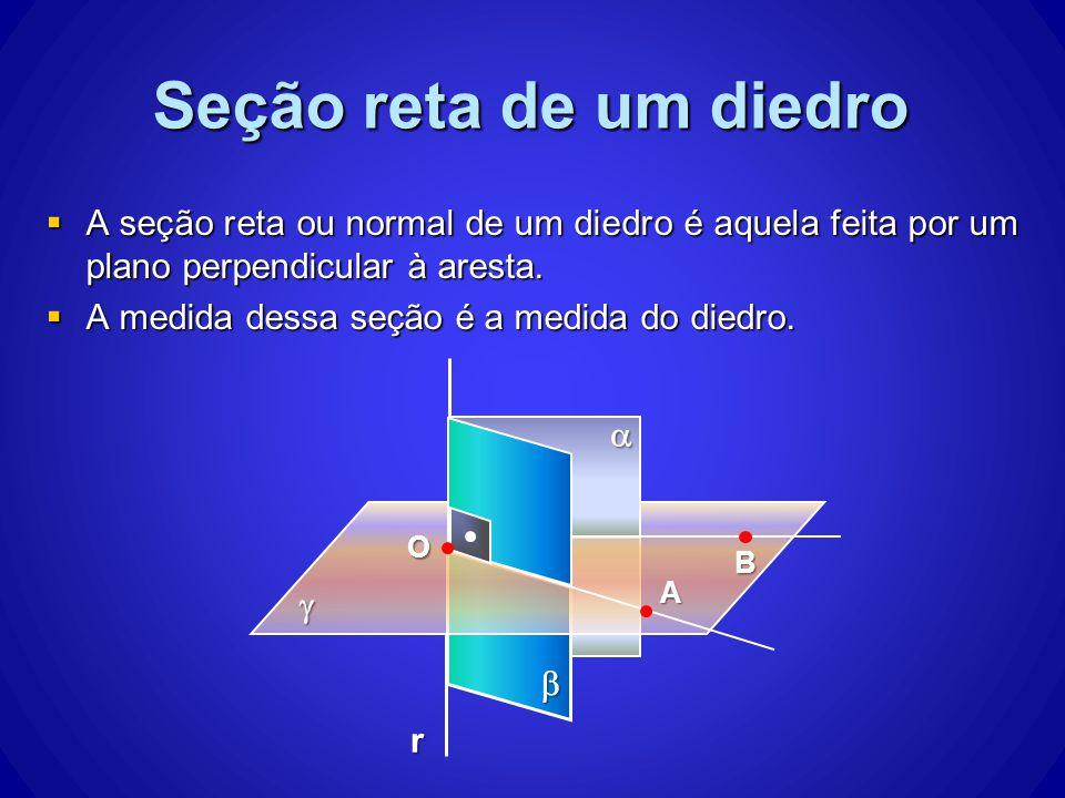 Seção reta de um diedro A seção reta ou normal de um diedro é aquela feita por um plano perpendicular à aresta.