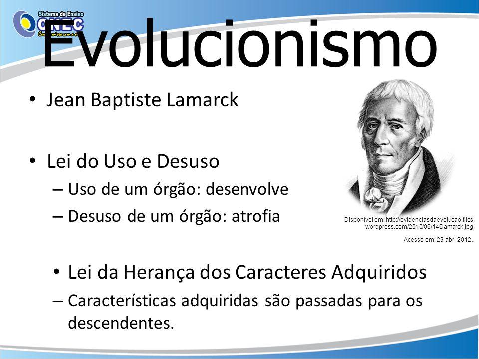 Evolucionismo Jean Baptiste Lamarck Lei do Uso e Desuso