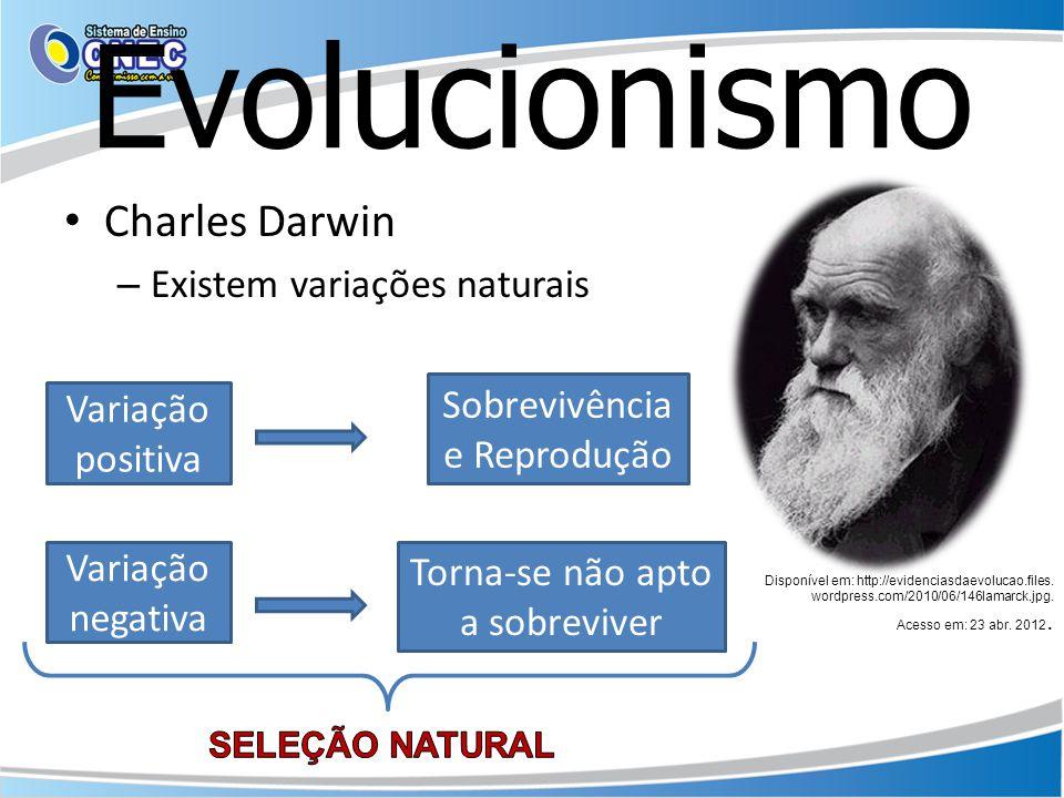 Evolucionismo Charles Darwin Existem variações naturais