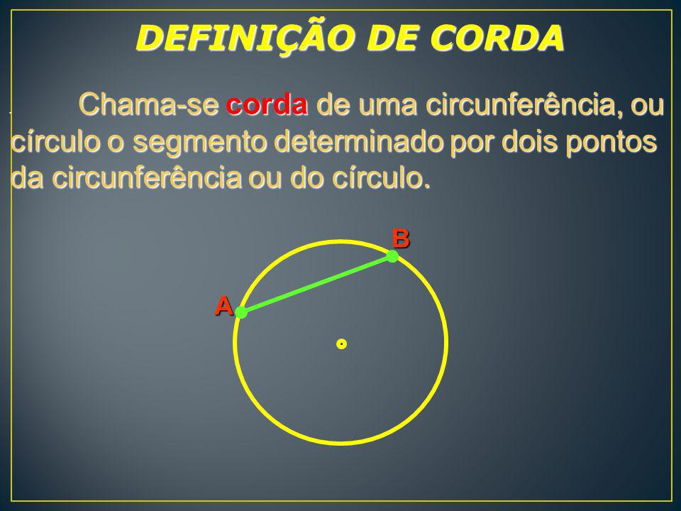 DEFINIÇÃO DE CORDA . Chama-se corda de uma circunferência, ou. círculo o segmento determinado por dois pontos da circunferência ou do círculo.