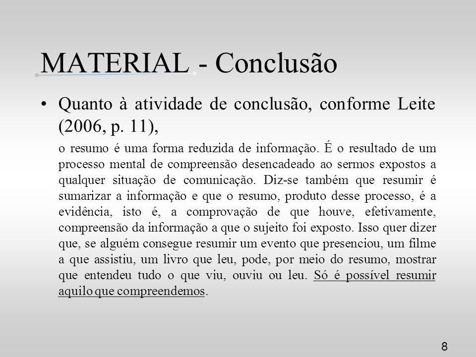 MATERIAL - Conclusão Quanto à atividade de conclusão, conforme Leite (2006, p. 11),