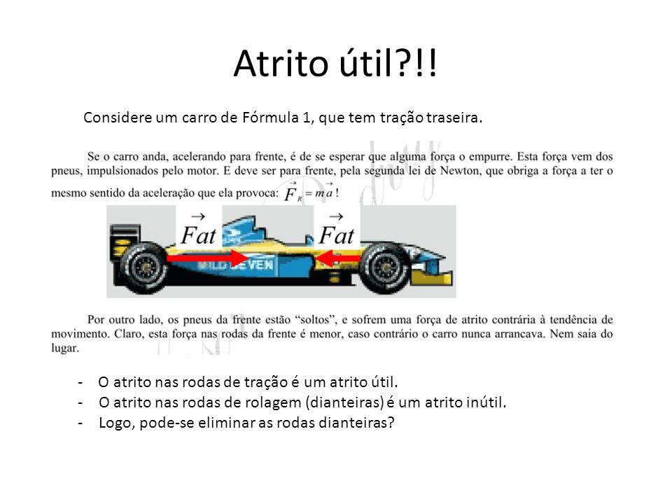 Atrito útil !! Considere um carro de Fórmula 1, que tem tração traseira. - O atrito nas rodas de tração é um atrito útil.