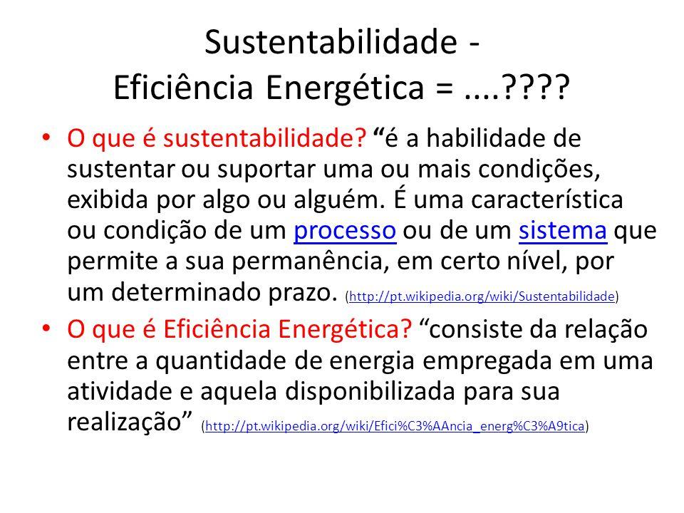 Sustentabilidade - Eficiência Energética = ....