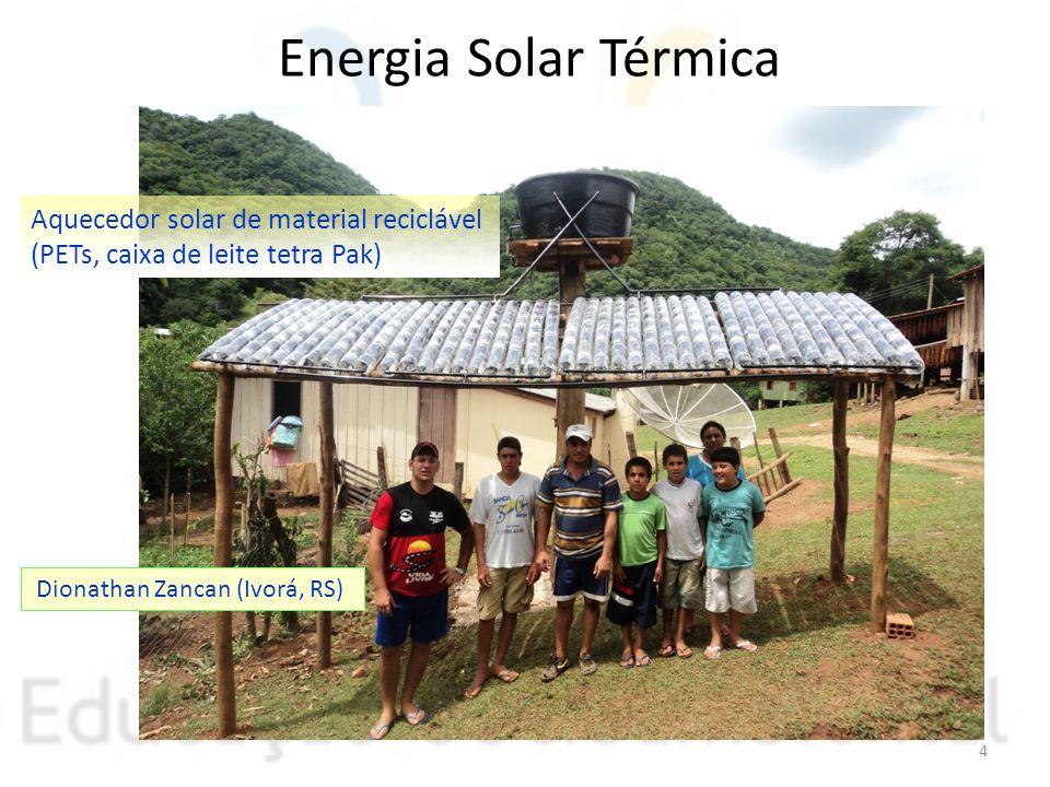 Energia Solar Térmica Aquecedor solar de material reciclável