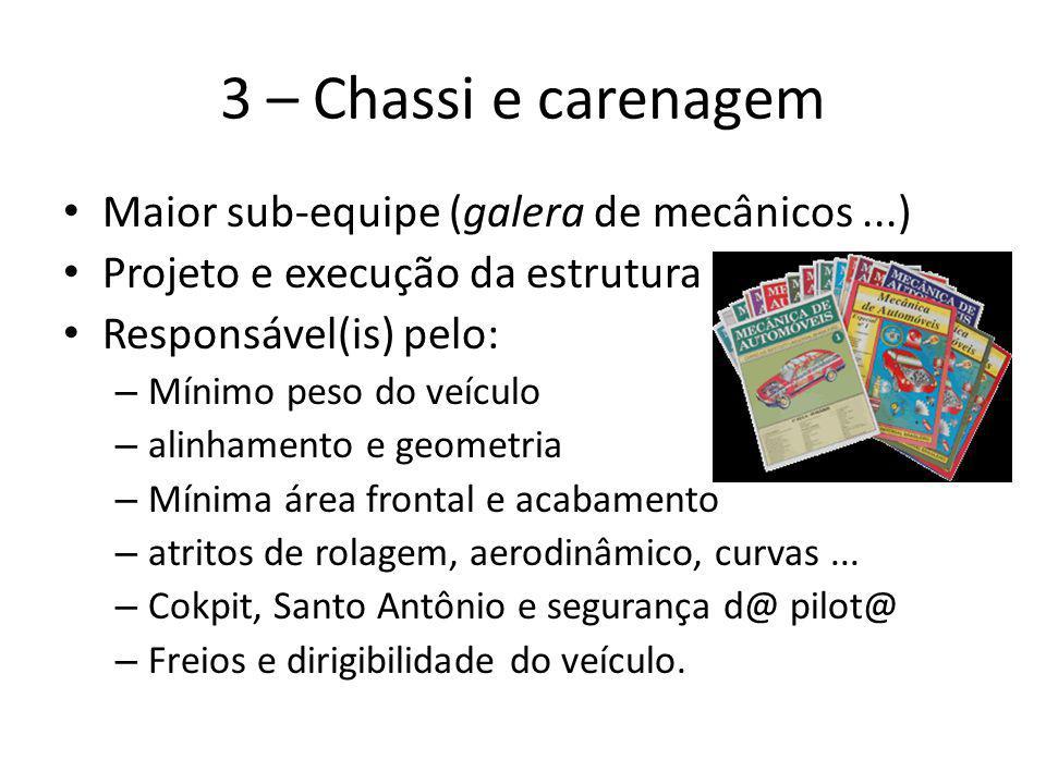 3 – Chassi e carenagem Maior sub-equipe (galera de mecânicos ...)