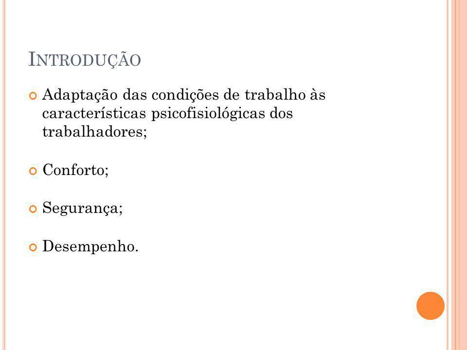 Introdução Adaptação das condições de trabalho às características psicofisiológicas dos trabalhadores;
