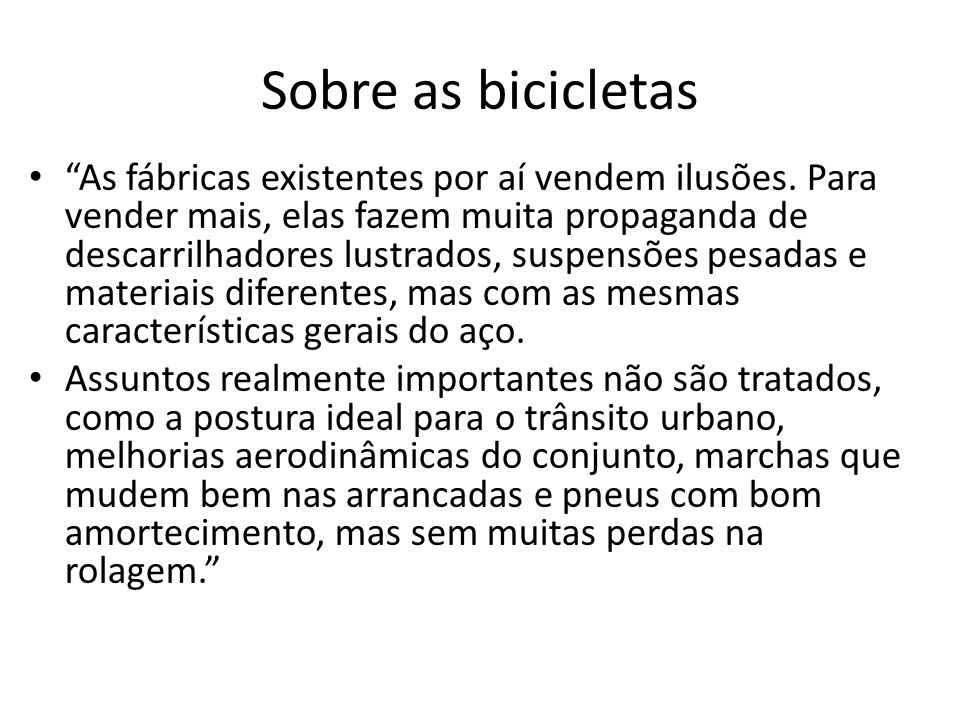 Sobre as bicicletas