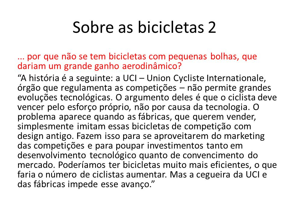 Sobre as bicicletas 2