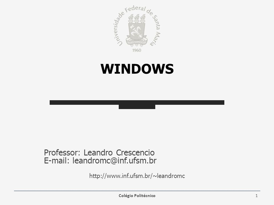 WINDOWS Professor: Leandro Crescencio E-mail: leandromc@inf.ufsm.br