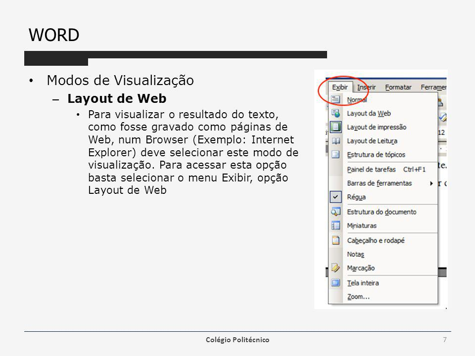 WORD Modos de Visualização Layout de Web