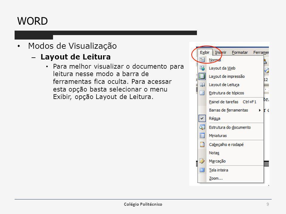 WORD Modos de Visualização Layout de Leitura
