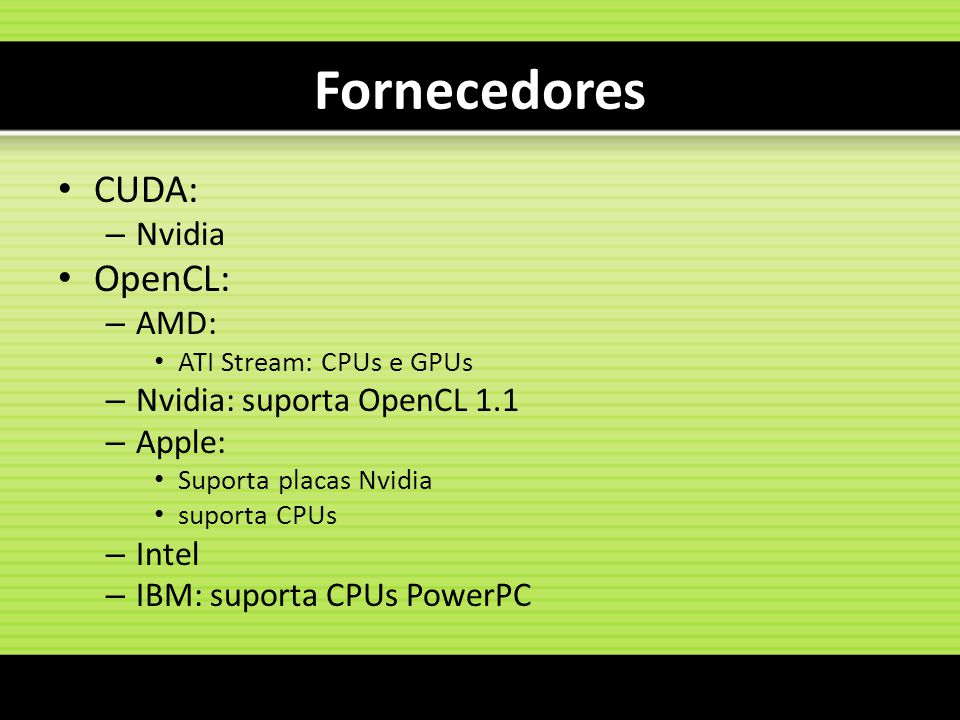 Fornecedores CUDA: OpenCL: Nvidia AMD: Nvidia: suporta OpenCL 1.1