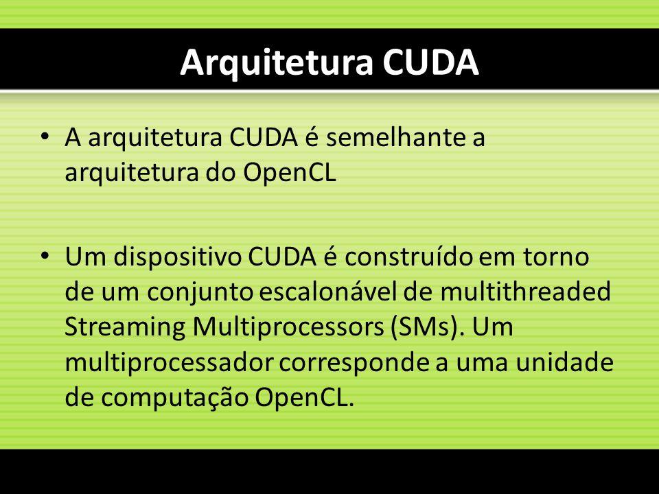 Arquitetura CUDA A arquitetura CUDA é semelhante a arquitetura do OpenCL.