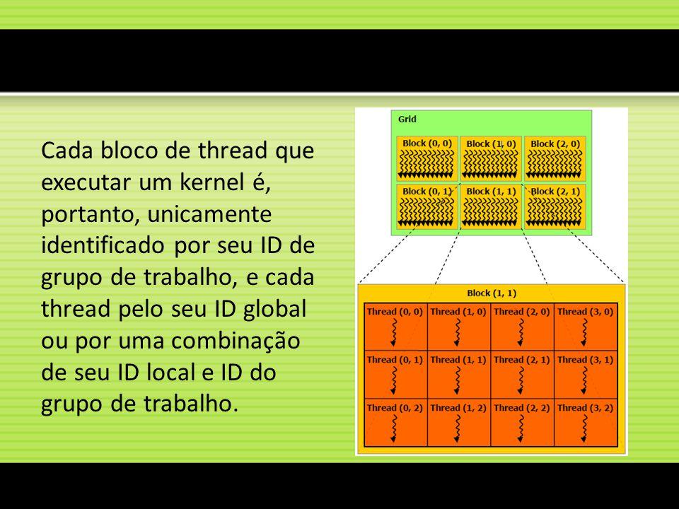 Cada bloco de thread que executar um kernel é, portanto, unicamente identificado por seu ID de grupo de trabalho, e cada thread pelo seu ID global ou por uma combinação de seu ID local e ID do grupo de trabalho.
