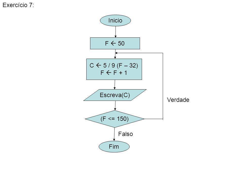Exercício 7: Inicio F  50 C  5 / 9 (F – 32) F  F + 1 Escreva(C) Verdade (F <= 150) Falso Fim