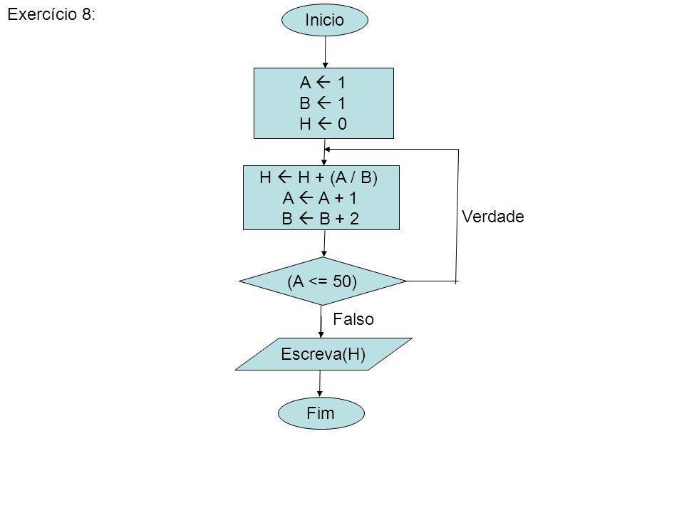 Exercício 8: Inicio. A  1. B  1. H  0. H  H + (A / B) A  A + 1. B  B + 2. Verdade. (A <= 50)