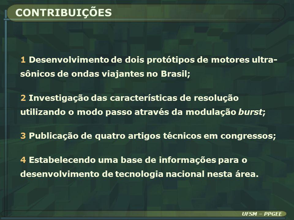 CONTRIBUIÇÕES 1 Desenvolvimento de dois protótipos de motores ultra- sônicos de ondas viajantes no Brasil;