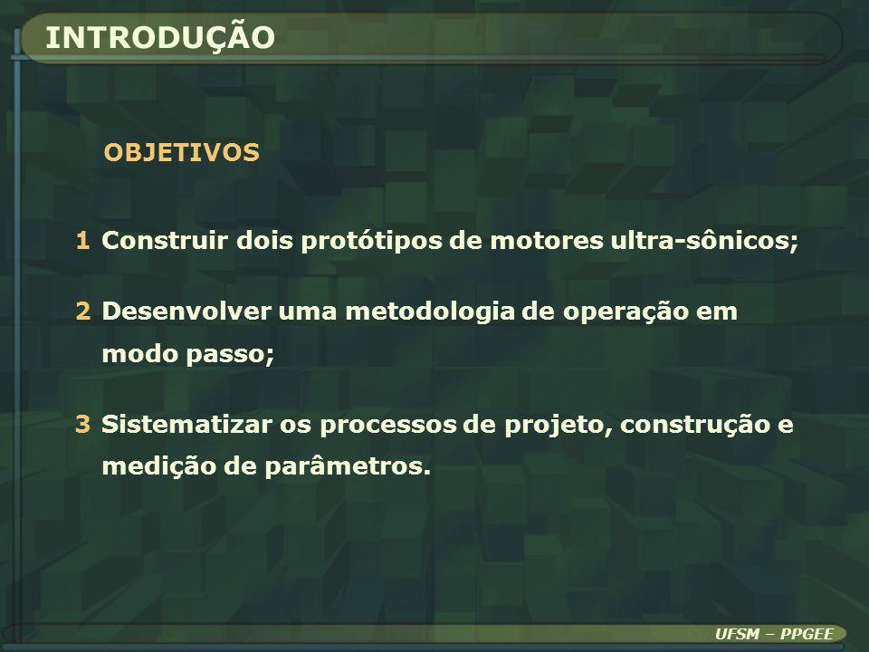 INTRODUÇÃO OBJETIVOS. 1 Construir dois protótipos de motores ultra-sônicos; 2 Desenvolver uma metodologia de operação em modo passo;