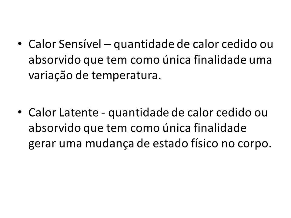 Calor Sensível – quantidade de calor cedido ou absorvido que tem como única finalidade uma variação de temperatura.