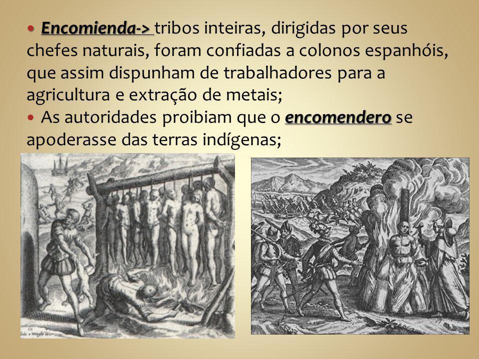 Encomienda-> tribos inteiras, dirigidas por seus chefes naturais, foram confiadas a colonos espanhóis, que assim dispunham de trabalhadores para a agricultura e extração de metais;