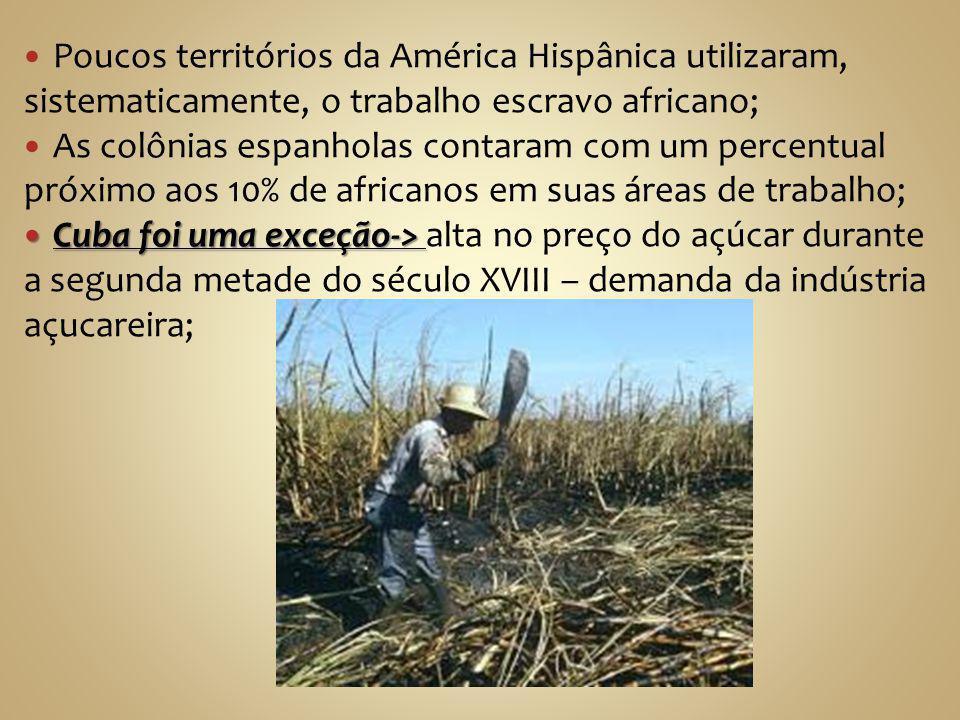 Poucos territórios da América Hispânica utilizaram, sistematicamente, o trabalho escravo africano;