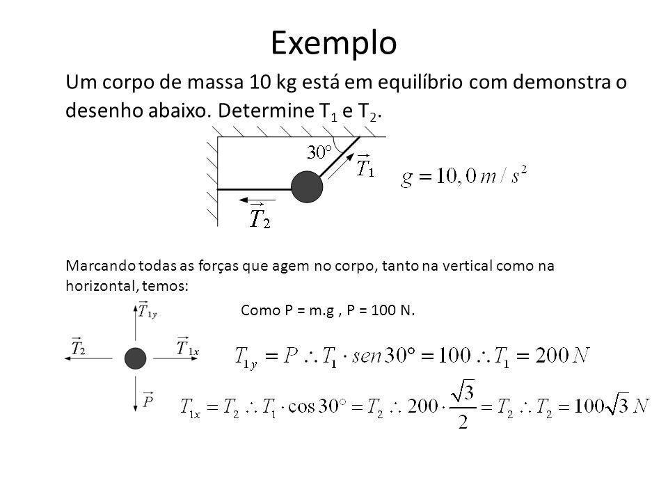 Exemplo Um corpo de massa 10 kg está em equilíbrio com demonstra o desenho abaixo. Determine T1 e T2.
