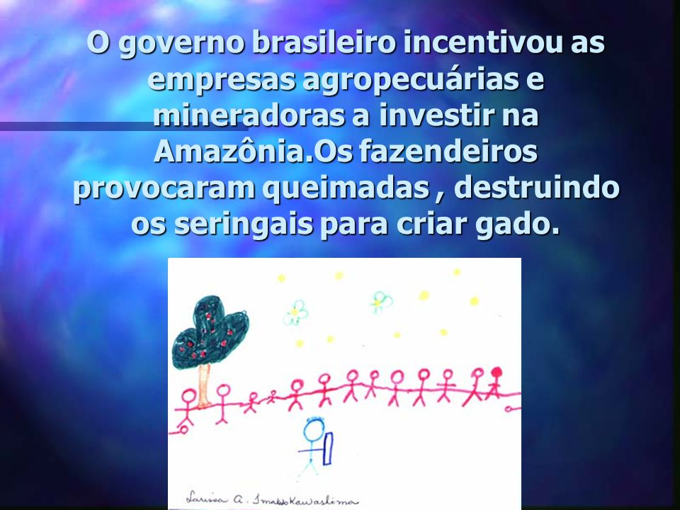 O governo brasileiro incentivou as empresas agropecuárias e mineradoras a investir na Amazônia.Os fazendeiros provocaram queimadas , destruindo os seringais para criar gado.