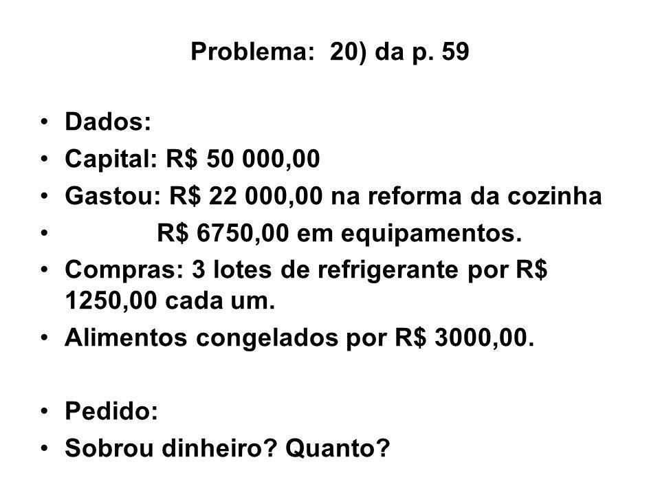 Problema: 20) da p. 59 Dados: Capital: R$ 50 000,00. Gastou: R$ 22 000,00 na reforma da cozinha.